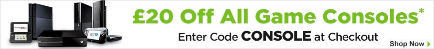£20 off Selected Consoles when you enter code CONSOLE at checkout