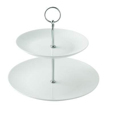 ASDA White 2 Tier Porcelain Cake Stand, White