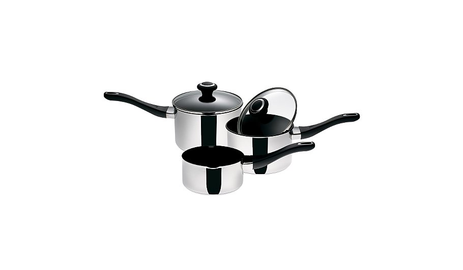 prestige 3 piece stainless steel saucepan set pots. Black Bedroom Furniture Sets. Home Design Ideas