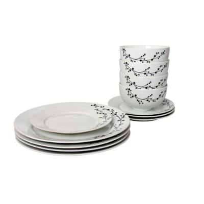 Blossom Porcelain 12 Piece Dinner Set,