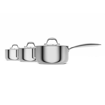 morphy richards 3 piece pan set steel view all kitchen. Black Bedroom Furniture Sets. Home Design Ideas