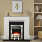Katell Chester Brushed Steel Electric Fire, White Surround and Black Panel/Hearth