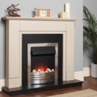 Katell Chester Brushed Steel Electric Fire Sandstone Surround and Black Panel/Hearth
