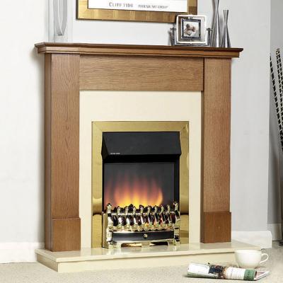 asda direct katell devon brass electric fire golden oak. Black Bedroom Furniture Sets. Home Design Ideas