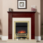 Katell Devon Brass Electric Fire Mahogany Surround and Beige Marble Panel/Hearth