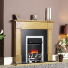 Katell Sherwood Brass Electric Fire Natural Oak Surround and Black Panel/Hearth