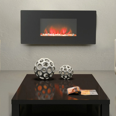 Abbey Wall Mounting Electric Fire with Black Glass Fascia