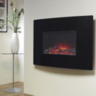 Katell Islington Wall Mounting Electric Fire with Curved Black Glass Fascia