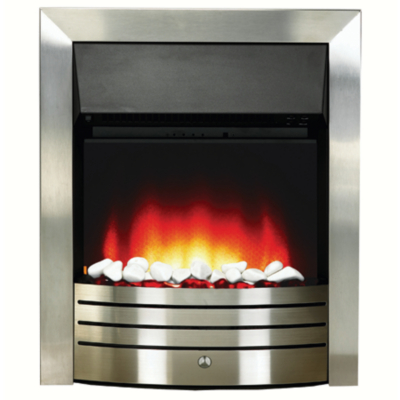 Katell Portland Brushed Steel Electric Fire, Silver