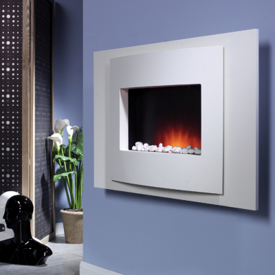 Katell Vista Wall Mounting Silver Electric Fire and Surround, Silver