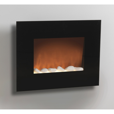 Wall Glass Fireplace, Black EH0084
