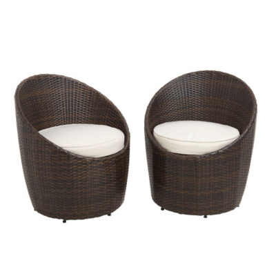 Sheds & Garden Furniture Jakarta Egg Bistro Chairs x 2, Brown and Cream