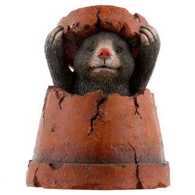 Mole In A Plant Pot Garden Ornament