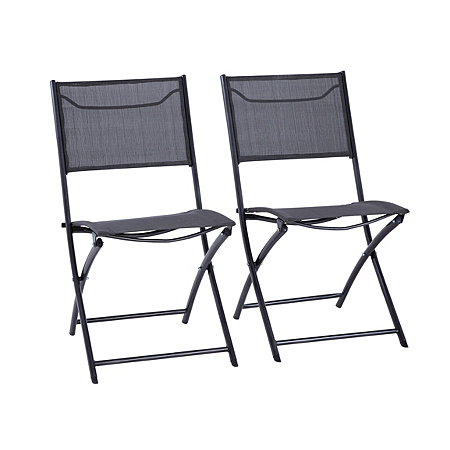 Miami Folding Bistro Chair In Charcoal Pack Of 2