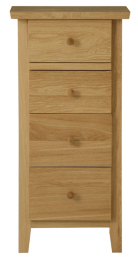 Amber Tall Narrow Chest of Drawers - Solid Oak