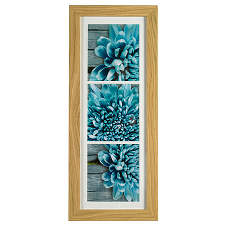asda framed flower blue canvas wall art 77x32cm. Black Bedroom Furniture Sets. Home Design Ideas