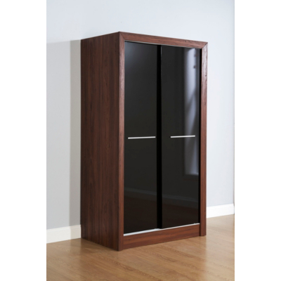 Monte Carlo 2 Drawer Sliding Wardrobe in Walnut Black Gloss