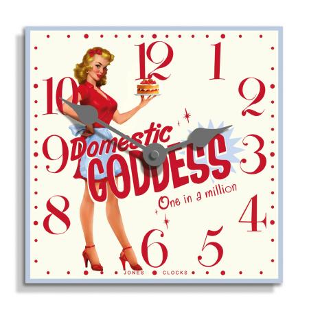 Jones Red Retro Goddess Wall Clock