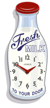 Red Milk Bottle Clock