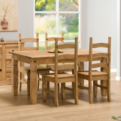 Aztec Mexican Pine Dining Set with 4 Chairs