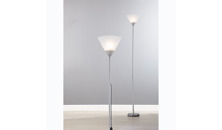 George home silver uplighter floor lamp lighting for Floor lamp asda