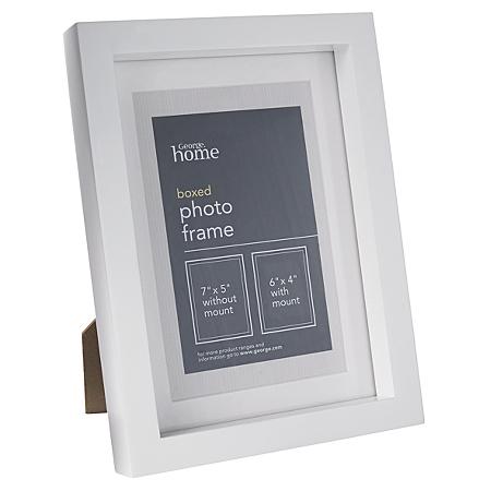george home white boxed photo frame 6 x 4 inch frames. Black Bedroom Furniture Sets. Home Design Ideas