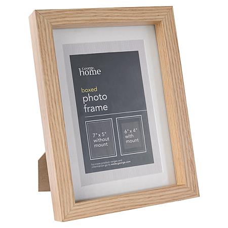 george home light wood boxed photo frame 6 x 4 inch. Black Bedroom Furniture Sets. Home Design Ideas