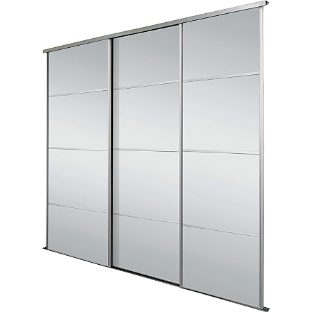 Triple Mirror Panelled Sliding Wardrobe Doors Interior And Track Kit