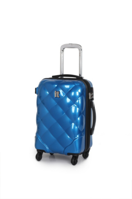 it Luggage Quilted 4Wheel UltraStrong Expander Trolley Case  Cabin Blue