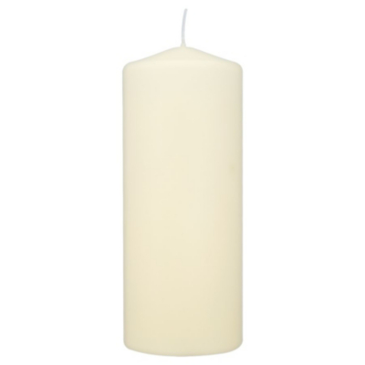 ASDA Large Unscented Pillar Candle, Cream