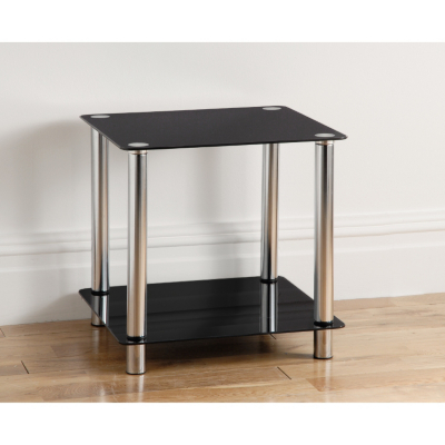 Black Side Tables  Living Room on Side Table With Shelf And Chrome Finish Legs Co Ordinating Living Room