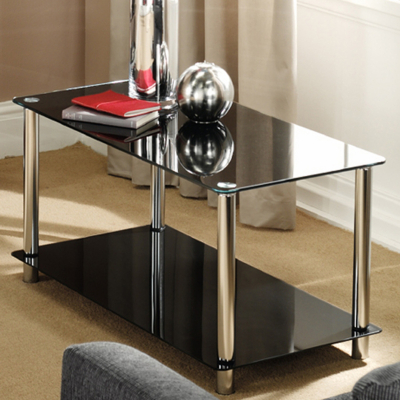 Cheap Furniture Brooklyn on Brooklyn Coffee Table Black Glass Black   Chrome Brooklyn Coffee