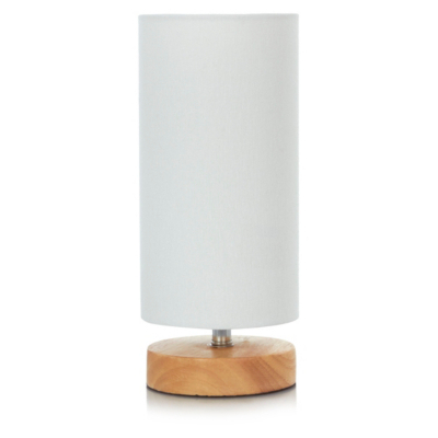 Light Wood Cylinder Table Lamp, Cream