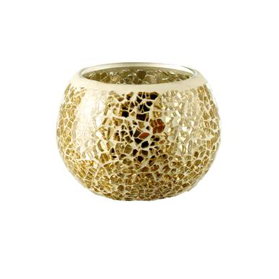 Mosaic Tealight Holder - Gold, Gold