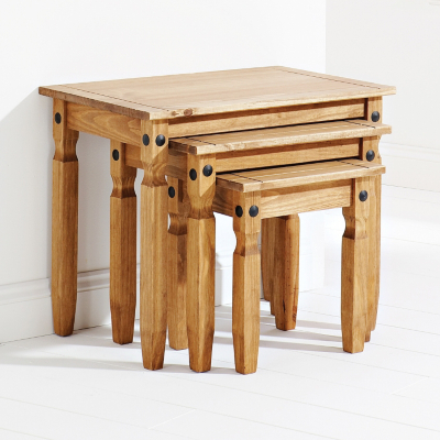 Rio Solid Pine Nest of 3 Tables