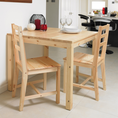 Pine Dining Table on Solid Pine 3 Piece Dining Set This Set Includes A Square Table With 2