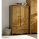 Hampton Pine 2 Door Wardrobe with 2 Drawers
