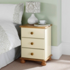 Hampton Cream Pine 3 Drawer Bedside Cabinet