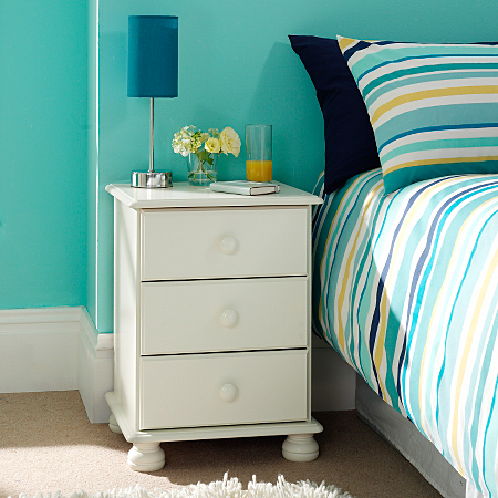 Hampton 3 Drawer Bedside Chest White Furniture Asda Direct