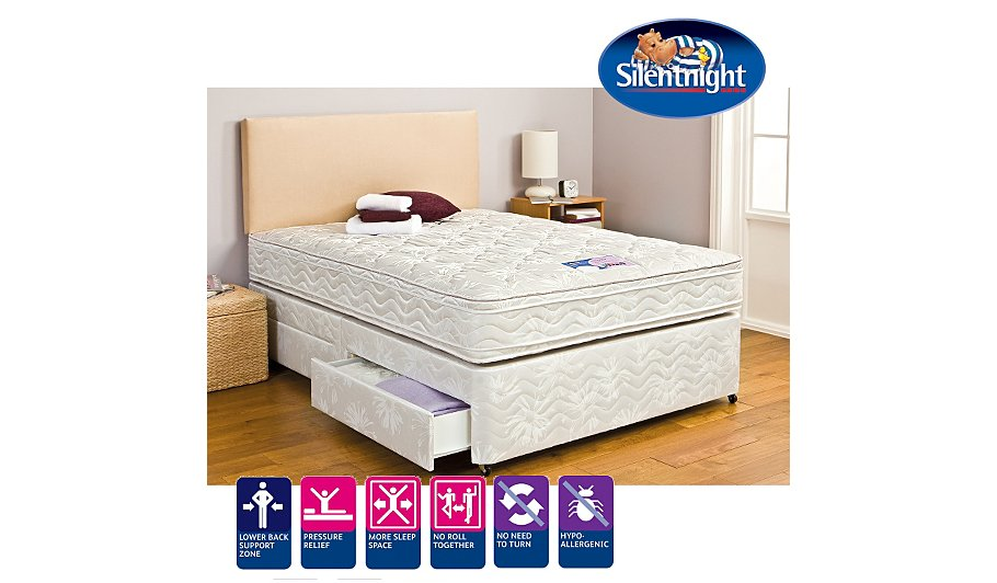 Silentnight Miracoil3 Cushion Top Double Divan Various Storage Beds George At Asda