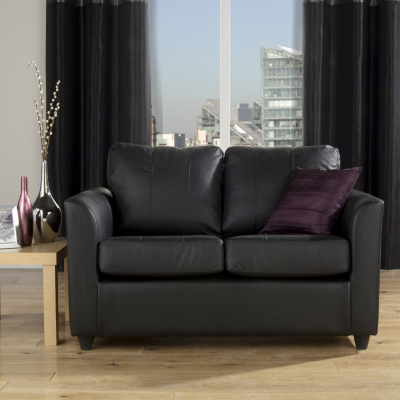 Elegant Chloe 2 Seater Sofa   Black  Black Leather/pvc