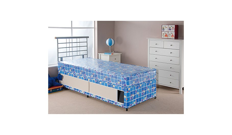 Airsprung kids waterproof divan toddler slide storage for Double divan bed with slide storage