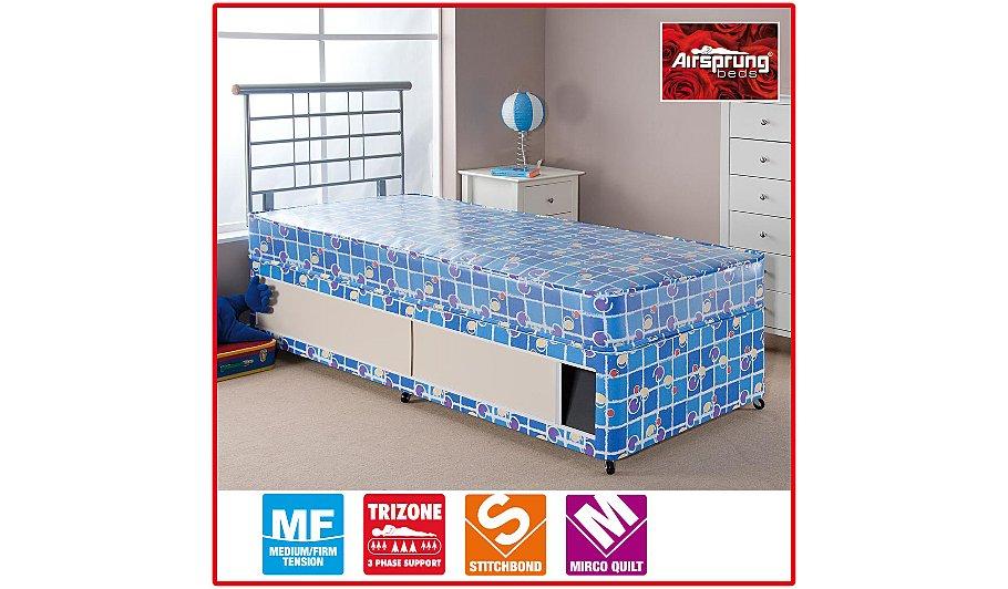 Airsprung kids waterproof divan shorty various storage for Shorty divan bed