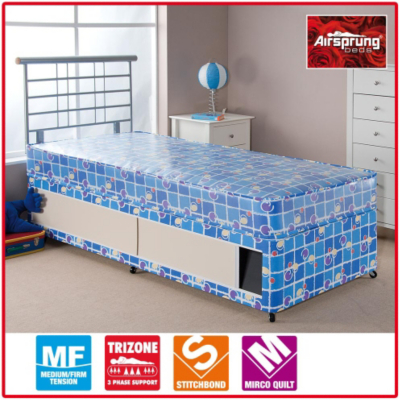 Asda direct airsprung kids waterproof divan single for Single divan bed with slide storage