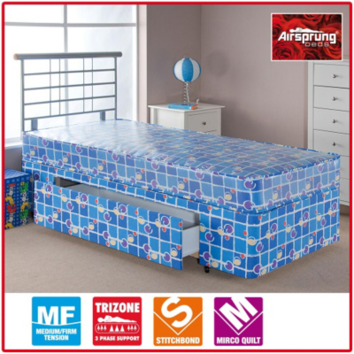 Asda direct airsprung kids waterproof divan single for Cheap single divan with drawers