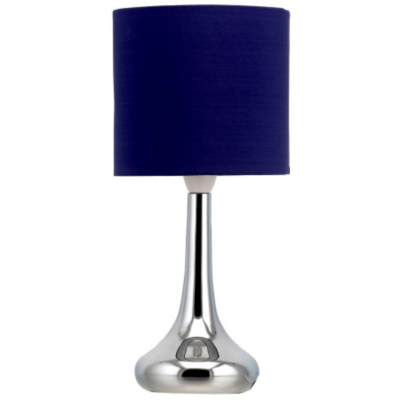 asda chrome table lamp navy blue blue as2794 bl. Black Bedroom Furniture Sets. Home Design Ideas