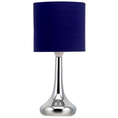 asda chrome table lamp navy blue blue as2794 bl. Black Bedroom Furniture Sets. Home Design Ideas