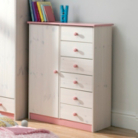 Jill Childrens Wardrobe - 1 Door and 6 Drawer
