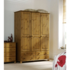 Hampton Pine 3 Door Wardrobe with 4 Drawers