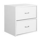 Cube With 2 Drawers in White